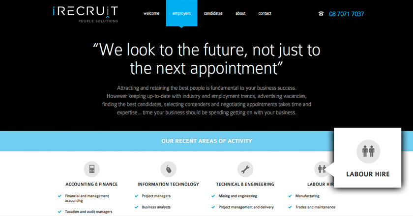 iRecruit People Solutions Website - Employers Page
