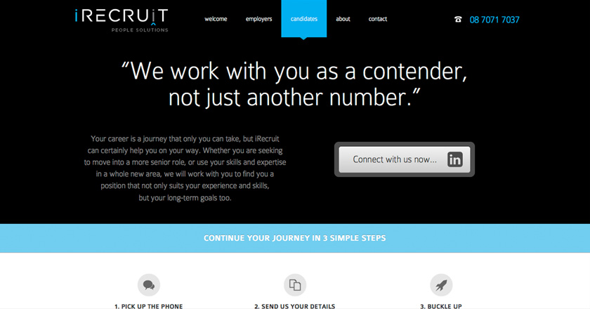 iRecruit People Solutions Website - Candidates Page