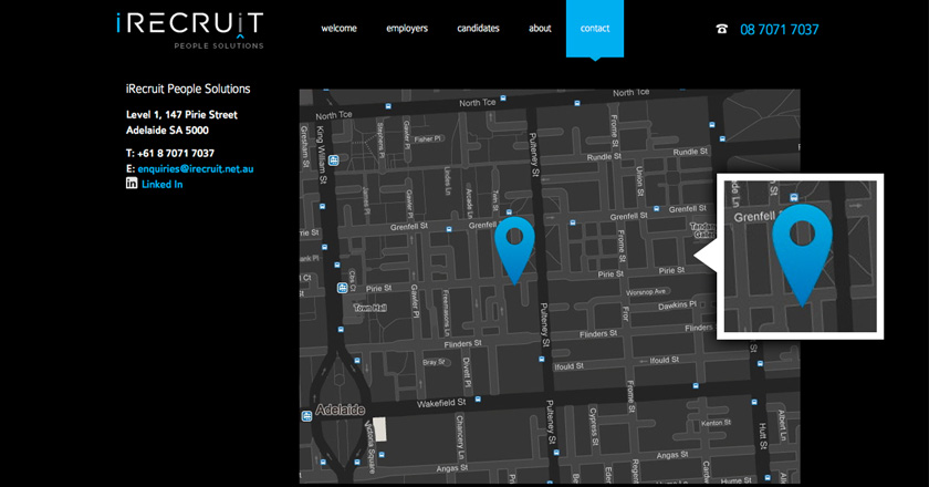 iRecruit People Solutions Website - Contact Page & Map Detail